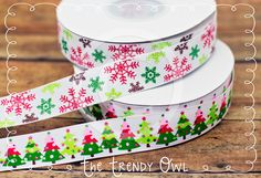 Merry Winter Snowflakes and Trees <3  Shop our Designer Ribbon now @ www.thetrendyowl.com