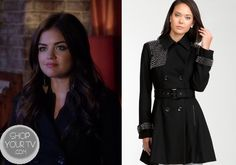 Shop Your Tv: Pretty Little Liars: Season 4 Episode 12 Aria's Studded Black Coat Pretty Little Liars Seasons, Pretty Little Liars Fashion, Aria Montgomery, Aria Style, My Style, Studded Jacket, Fashion Tv, Season 4, Lucy Hale