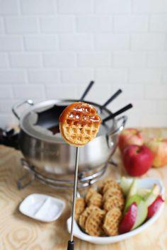 Waffles With Chocolate Fondue Recipe — Dishmaps