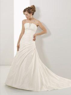 NO.0242005 2012 style aline strapless beading sleeveless court trains taffeta white wedding dress for brides