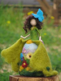 Needle felted Waldorf inspired Art doll Spring fairy home decor
