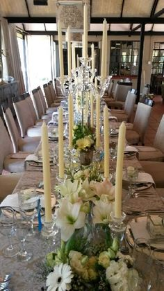 Banquet, White Flowers, Table Settings, Candles, Table Decorations, Furniture, Home Decor, Style, Swag