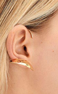 Single Yellow Vermeil Maple Left Earring by CHARLOTTE CHESNAIS for Preorder on Moda Operandi