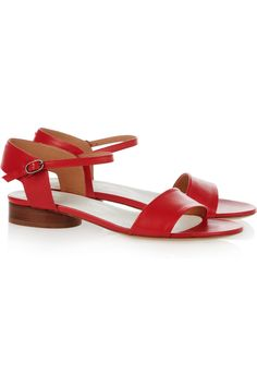 Maison Martin Margielabrick red leather sandals. The perfect saturated color for pairing with muted looks.