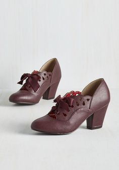 Lady and the Glam Heel in Bordeaux. As a maven of the dapper and demure style, you pick these burgundy heels by Bait Footwear - the perfect pairing for your elegant character. #red #modcloth