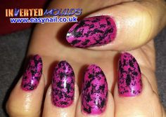 Fuchsia Pink Inverted Moulds with Black Glitter in an Almond shape tip.  Created by Cheryl Hammond   IM Nail Training www.easynail.co.uk  #Invertedmoulds #nailart #acrylicnails #nails