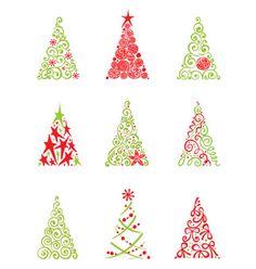 Set of modern christmas trees vector