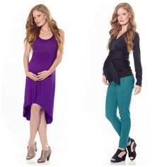 Adorable maternity dress and maternity shirt and jeans.