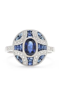 Beverley K Oval Sapphire and Diamond Engagement Ring