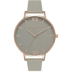 Women's Olivia Burton 'Big Dial' Leather Strap Watch, 38Mm ($125) ❤ liked on Polyvore featuring jewelry, watches, thin dial watches, bezel watches, thin wrist watch, dial watches and olivia burton watches