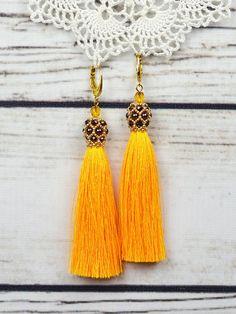 Wedding earrings tassel earrings yellow earrings beaded dangle