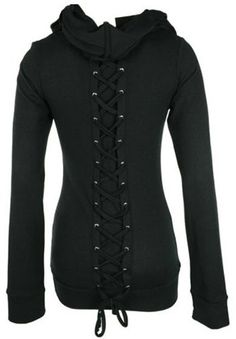 Stylish Black Lace-Up Back Long Sleeves Hoodie For Women