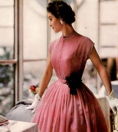 1954 Model in pretty Swiss voile dress by R & K Originals, Vogue