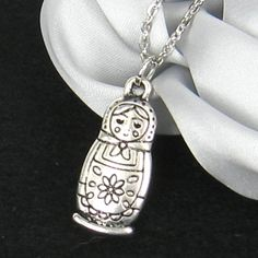 SALE  Antique silver Matryoshka doll necklace by icerose11 on Etsy