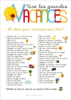 Print the poster compiling 50 summer activity ideas for kids: the to-do-list vacation! Source by Momesnet French Teacher, Teaching French, Core French, French Classroom, French Resources, French Immersion, Summer Bucket Lists, French Lessons, Learn French