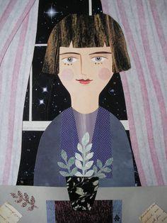 Portrait of Katherine. Cut paper collage by Amanda White www.amandawhite-contemporarynaiveart