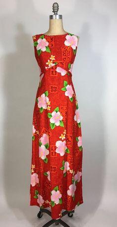 Vintage 1960's fiery orange cotton tropical print TIKI HAWAIIAN maxi Dress Sears #SearsHawaii #MaxiHawaii #Fun