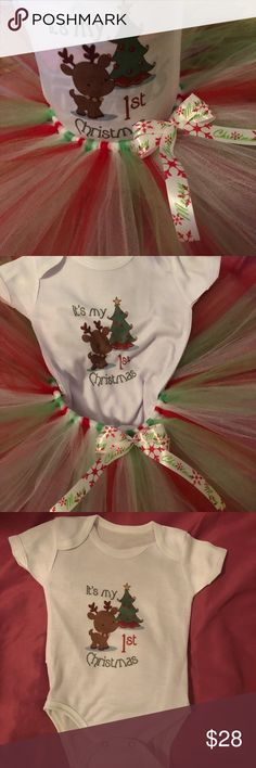 It's My 1st Christmas 3 piece Tutu set Adorable It's My 1st Christmas Tutu set. Tutu length is 8 inches. ***bows may vary*** also comes with either a red, green or white crochet headband A & K Pretties Matching Sets