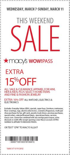 65 best couponsfreebiesdiscounts images on pinterest households save an extra 15 at macys this weekend fandeluxe Image collections