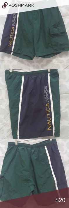 Classic Nautica colorblock spellout swim shorts For sale is a Mens Nautica  Swim Short  MEN'S SIZE: LARGE  (Waist Size 34-36) SHELL: 70% COTTON 30% NYLON LINING: 100% POLYESTER  COLOR: Navy, Green, White, Yellow  GOOD USED CONDITION. Minor wear from wash. May have if any little to no flaws. Knee length. Has 2 pockets only on left side 1 side pocket and one cargo pocket. Has small inner pocket No trades. Bundle to save on shipping!  REASONABLE Offers are welcomed through offer button only. NO…