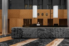 Gamma hotel on Behance Hotel Reception Desk, Reception Desk Design, Lobby Reception, Reception Counter, Lobby Bar, Lobby Lounge, Lobby Interior, Interior Architecture, Interior Design