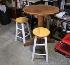 Just look at the Awesome Transformation on this Pub Style Table & Stools! Love it!