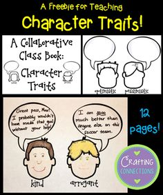 Teach Character Trait words and make a collaborative class book! Character Traits Activities, Character Education, Reading Skills, Teaching Reading, Reading Intervention, Guided Reading, Teaching Ideas, Third Grade Reading, Second Grade