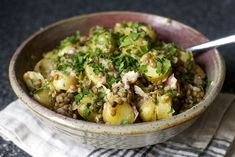 warm lentil and potato salad - smitten kitchen - Mmmmm, lentils and potatoes - two of my favourite foods. - Ditch the oil, maybe use avocado, plant based yogurt, etc. instead for WFPB Veggie Recipes, Salad Recipes, Vegetarian Recipes, Great Recipes, Cooking Recipes, Healthy Recipes, Veggie Food, Recipe Ideas, Weekday Meals