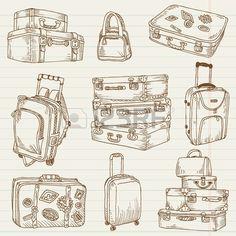 Juego de maletas vintage - para el diseño y bloc de notas en el vector Vectores