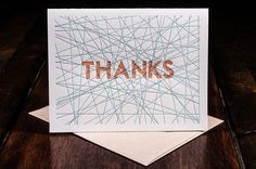 SALE Thanks letterpress card - single