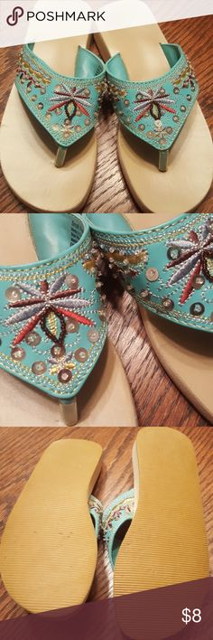Super cute sequined shoes Embroidered with metallic thread. Some beading detail and sequins. Nice support so you are feeling like you are walking flat footed. Shoes Sandals