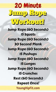 Jump rope workout that takes just 20 minutes! Burn calories fast and add lean muscle tone to your legs, abs, and upper body. Find out everything you need to know about this 20 minute jump rope workout here. #musclebuilding