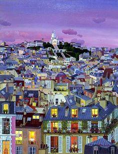 Tableau de Cellia Saubry, représentant les toits de Paris. Support pour…