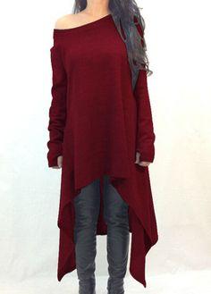 El vino rojo de manga larga del suéter de mayor a menor    Fashionerly Rojo f02aa2a3e155