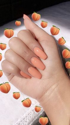 Acrylic Nails (notitle) acrylic nails coffin - acrylic nails short - acrylic nails almond - g Peach Acrylic Nails, Acrylic Nails Coffin Short, Peach Nails, Summer Acrylic Nails, Cute Acrylic Nails, Pastel Nails, Summer Nails, Coffin Nails, Acrylic Gel