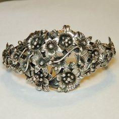 Highly Detailed Sterling Cuff Bracelet, Flower Bouquet, Floral Design