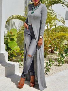 plus size high Slit Sheath T-Shirt Dress women solid long sleeve long maxi dress Casual o neck strretwear Fast Fashion Brands, Trend Fashion, Types Of Fashion Styles, Womens Fashion, Mode Outfits, Fall Outfits, Fashion Outfits, Long Tops, Long Sleeve Tops