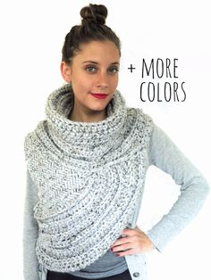 Chunky Knit Asymmetrical Cowl Vest Shawl Scarf One Armed // Huntress Vest in Philosopher's Stone // Many Colors and Vegan Options Available