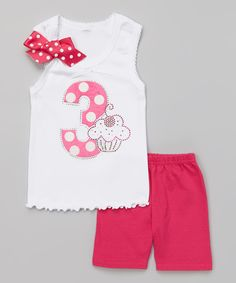 Another great find on #zulily! White Polka Dot '3' Tank & Pink Shorts - Toddler & Girls by So Girly & Twirly #zulilyfinds