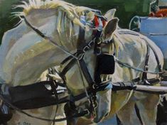 """Daily Paintworks - """"Carriage Horse"""" - Original Fine Art for Sale - © Taryn Day"""