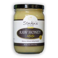 Raw Honey from alfalfa flowers in packed by a small family operation near Strasburg, PA. Stockin's alfalfa honey originates in Canada and has never been pasteurized or filtered. Living enzymes from raw honey can provide numerous health benefits. 17 oz. of this sweetness is offered to stores by Swiss Villa.