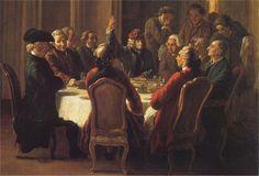 Le Café Procope   attire des auteurs comme Voltaire ou Rousseau, qui y ont leurs habitudes. La « légende » du café dit que Diderot y écrivit des articles de l'Encyclopédie, que Benjamin Franklin y prépara le projet d'alliance de Louis XVI avec la nouvelle République selon une plaque commémorative, et qu'il y aurait conçu des éléments de la future Constitution des États-Unis.