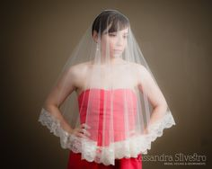 Sheer Drop Ivory Lace Illusion Bridal Veil by CassandraSilvestro, $120.00