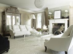Living Room - lucite coffee table, antique Armoire, white furniture    | LYNNE SCALO DESIGN