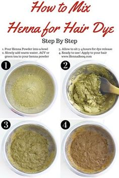 Pour Henna Powder into a bowl Slowly add warm water ACV or green tea to y Henna For Hair Growth, Henna Hair Dyes, Red Henna Hair, Dyed Natural Hair, Natural Hair Tips, Natural Hair Styles, Diy Hair Dye, Dyed Hair, Green Tea For Hair
