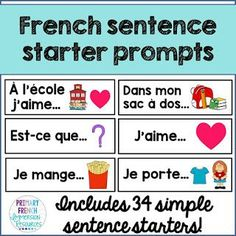 French sentence starter prompts Includes: 34 sentence starters/prompts to help with oral communication and sentence generation in French classrooms (French Immersion or Core French) French Flashcards, French Worksheets, Teaching French Immersion, French Sentences, French Verbs, Communication Orale, French Conversation, Spanish Teaching Resources, French Resources