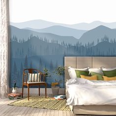 Blue Ombré Mountain Wallpaper | Forest Tree and Mountain Wallpaper | Repositionable and Removable Wallpaper W1078