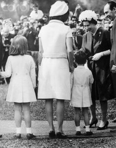 Mrs. Kennedy and the children meeting the Queen