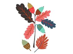 Brie Harrison October Giclée print Acorns Illustration www.brieharrison.com