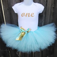 Aqua and Gold First Birthday Tutu Outfit and Headband | Glittery Gold ONE | Birthday Photos, Party Dress by Zobows on Etsy